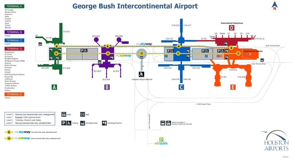 iah houston terminal map George Bush Intercontinental Houston Airport Iah Pet Relief Areas Dogs On Planes iah houston terminal map